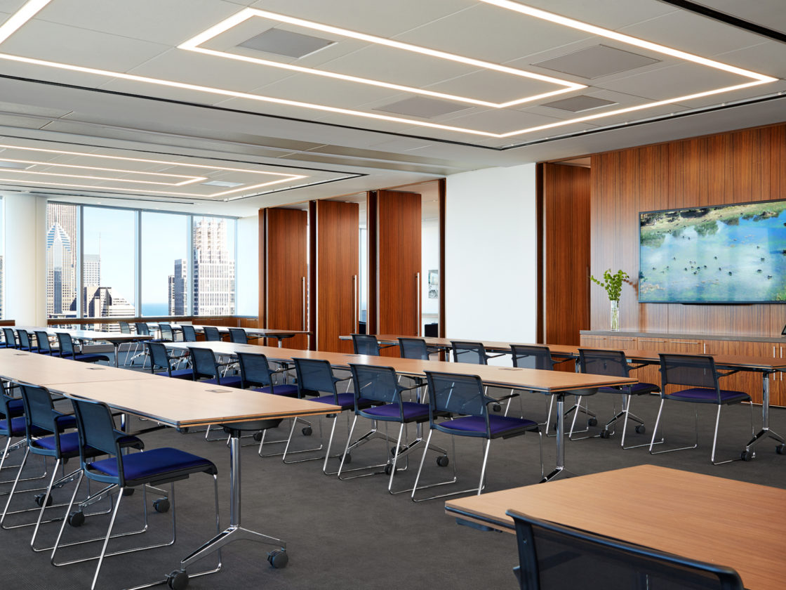 McDermott training room with movable dividing wall.